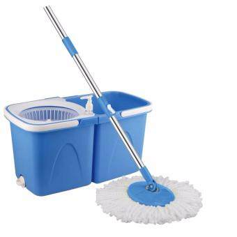 Harga Easy Spin Mop With Wheel & Plastic White Basket (Blue) + FREE 2 Mop Heads