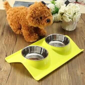 Harga Splashproof Double Pet Bowl Stainless Steel Dog Cat Puppy Feeder Food Water Dish Yellow