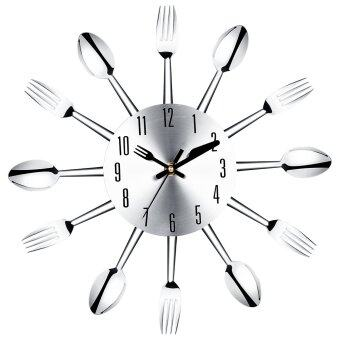 Harga 3D Wall Clock Modern Design Stainless Steel Kitchen Wall Watch Quality Quartz Needle Clock