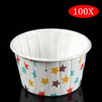 Harga PAlight 100Pcs Round Shape Paper Muffin Cases Cake Cupcake Bakeware Maker Mold (color:Star)