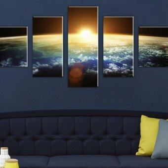 Harga 5 PCS Sun and Earth Oil Painting Home Decor Wall Art Picture Paint on Canvas Prints(NO Frame)