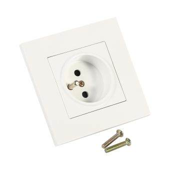 Harga 1PC French Standard Wall Power Socket PC Panel AC 110~250V 16A 1 Way(White)