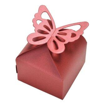 Harga 50pcs Butterfly Style Favor Gift Candy Cake Boxes For Wedding Party Baby Shower Red