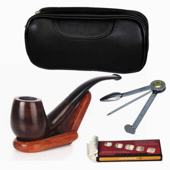 Harga GLiving Ebony Smoking Pipe with 10 Filter Element + Scraper + High Grade Pipe Pouches
