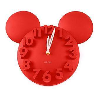 Harga Wall Clock 3D Mickey Mouse Design - Red