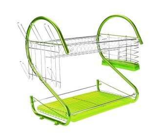 Harga Alpha Living S Shape 2-Layer Dish Drainer Two Tier Kitchen Storage Drying Draining Rack (Green)