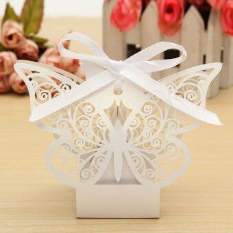 Harga 10Pcs Paper Butterfly Cut Candy Cake Boxes Wedding Party Gifts Favor Case