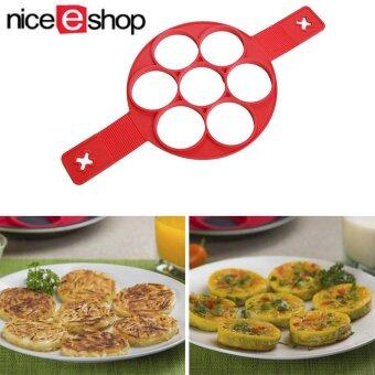 Harga niceEshop Pancakes Eggs Fixator Cooking Tool Molds Silicone Nonstick Cake Maker Egg Ring Moulds, Red