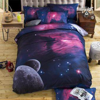 Harga New Hot Selling 3D Galaxy Duvet Cover Set Single Double Twin/Queen 3pcs/4pcs Bedding Sets Universe Outer Space Themed Bed Linen Bed Sheet Pillowcase #002
