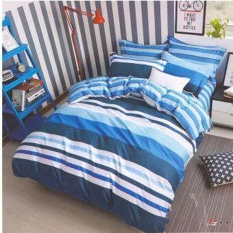 Harga Matahari SINGLE SPECIAL Fitted Bedsheet Set 100% Cotton - STRIPES BLUE - 4 PCS -(HOMEMADE)
