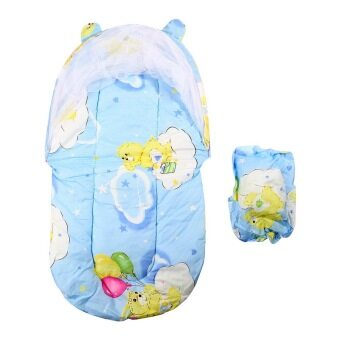 Harga OH Foldable New Baby Cotton Padded Mattress Pillow Bed Mosquito Net Tent Blue