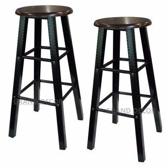 Harga GRAND DECOR Wooden Counter Stool Chairs (Set of 2 Bar Stools) / Counter Height Bar Stools for Pub, Restaurant, Cocktail or Breakfast Bar Counter, Home Kitchen