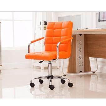 Harga Fully assembly full leather Comfort & Ergonomic Swivel Chair - Orange