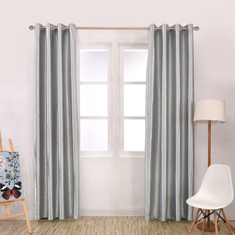 Harga 1 pcs 150x270 Modern blackout curtain full shade solid color window treatments bedroom drape short grey