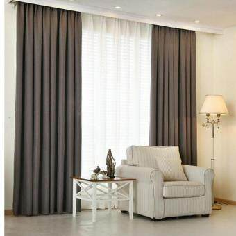 Harga 2 Pcs Set - Premium Extra Thick Elegant Curtain - 300 X 270 CM - French Pleat - Free Curtain Rope & Hooks