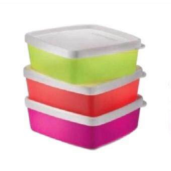 Harga Tupperware Neon Shallow Square Round (3) 250ml by TupperQQ