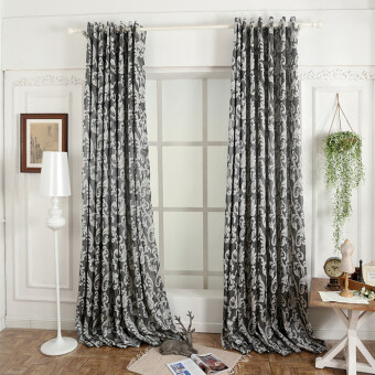 Harga 1 pcs 100x270 Window European style semi-blackout 3D for living room curtain kitchen grey