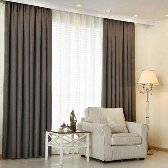 Harga 2 Pcs Set - Extra Thick Elegant Curtain - Dark Grey - 150 x 270 cm - French pleat - Free curtain Hooks & rope