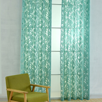 Harga 1 pcs Multiple colors ready made window curtain green