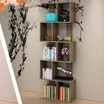 Harga S605 Simple Creative 5 Tiers Bookcases Home Bookshelf (Dark Wood Color)
