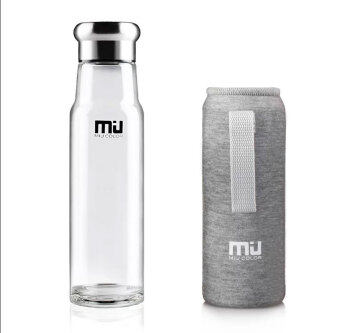 Harga MIU COLOR® 18.5 Ounces Stylish Portable Handmade Crystal Glass Water Bottle Design in Switzerland (Grey)