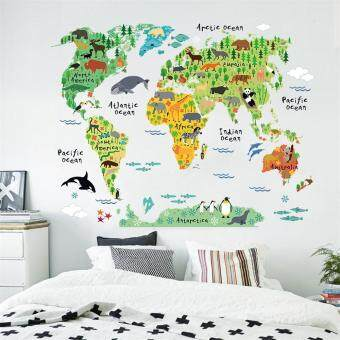Harga GETEK Colorful World Map Wall Sticker Decal Vinyl Art Kids Room Office Home Decor (Multicolor)