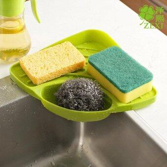 Harga Hot Sales Triangular Kitchen Sink Corner Shelf Wall Mounted Sponges Storage Rack with Drain Grooves