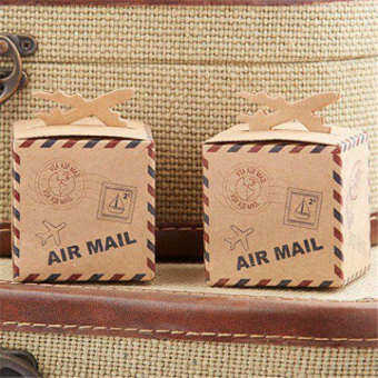 Harga 50pcs Airplane Kraft Favor Boxes Air Mail Candy Boxes Party Favors