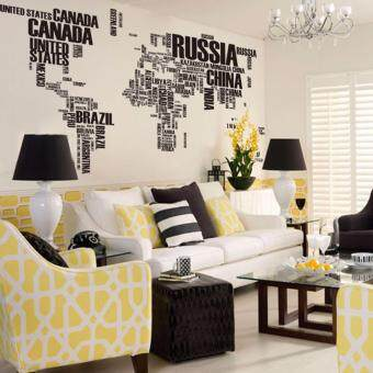 Harga Letter World Map Quote Wall Stickers