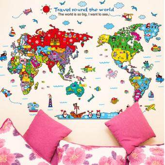 Harga Yika Animals Colorful World Map Kids Bedroom DIY Wall Sticker Art Decal For Nursery