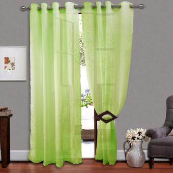 Harga 1 PIECE :Cozzi Eyelet Day Curtain 140cm x 260cm - FREESTYLE LIME GREEN(Fit window up to 100cm width)