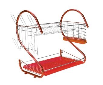 Harga Alpha Living S Shape 2-Layer Dish Drainer Two Tier Kitchen Storage Drying Draining Rack (Red)
