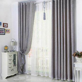 Harga 2 Pcs Set - Premium Extra Thick Elegant Curtain - Light Grey - Eyelet