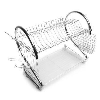 Harga Sellzone S Shape Stainless Steel Double Dish Drainer (Silver)