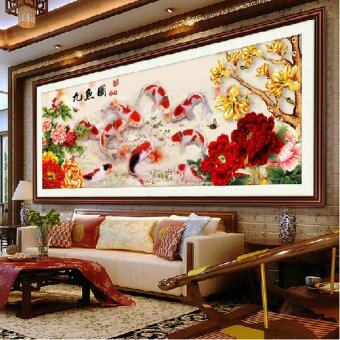 Harga Diamond embroidery 5D Diy diamond Painting Nine Fish Picture Needlework Cross Stitch Diamond Mosaic Home Decor Wall Sticker