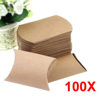 Harga 100Pcs Kraft Paper Pillow Candy Box Wedding Favor Gift Party Supply