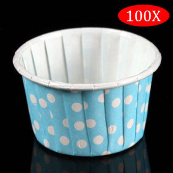 Harga PAlight 100Pcs Round Shape Paper Muffin Cases Cake Cupcake Bakeware Maker Mold (color:Blue Dot)