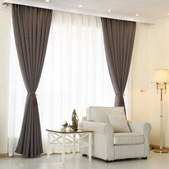 Harga 4 Pcs Set - Extra Thick Elegant Curtain With White Sheer Curtain - 250 x 270 cm - French pleat - Free curtain Hooks