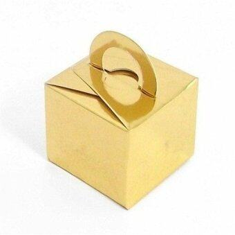 Harga 2016 Wedding Favor Holders Gift Favor Boxes Candy Color Chocolate Bags Square Paper Packing Bags Set of 10 (Metallic Gold)