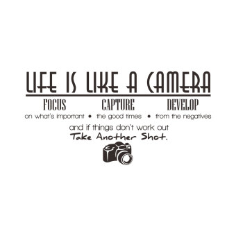 Harga Life is Like a Camera English Words and Quotes PVC Wall Stickers