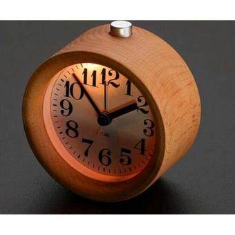 Harga Travel Round Wooden Clock,Small Silent Desk Snooze beech Wood Alarm Clock,Handmade Mute Creative Alarm Clock with Nightlight