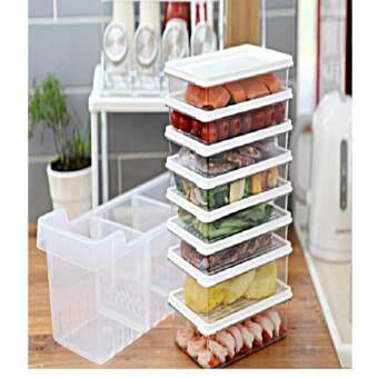 Harga Kitchen Refrigerator Organizer, Fridge and Freezer Storage Trays Large+Food Containers with Lids L1(6P)+L2(2P), Set of 9, Premium A