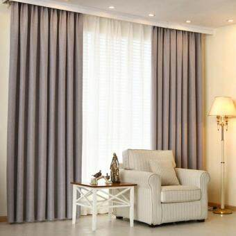 Harga 2 Pcs Set - Extra Thick Elegant Curtain - Light Grey - 150 x 270 cm - French pleat - Free curtain Hooks & rope