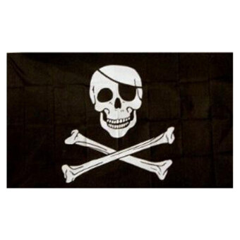 Harga Skull Pirate Flag Jolly Roger Hanging with Grommets Black