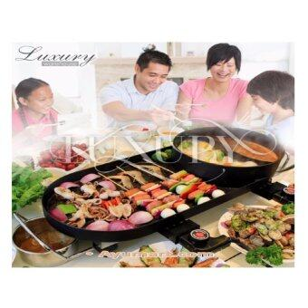 Harga Luxury 2 in 1 hot pot and BBQ grill Smokeless Korean Hot-pot Design Multi-function Electric Oven BBQ Non-stick