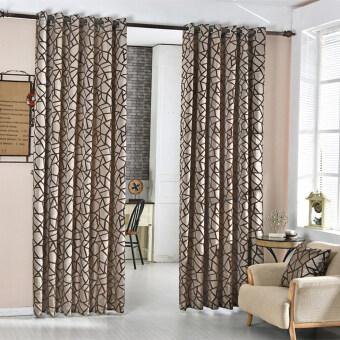 Harga 1 pcs 100x270 Geometric jacquard modern simple design living room blind home curtain window brown