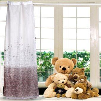 Harga 100x250CM Castle Shade Window Curtains for Living Room (Brown Tulle)