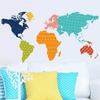 Harga New Colorful World Map Bedroom Living Room Waterproof Removable Wall Stickers
