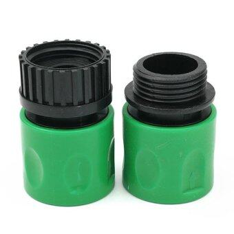 Harga 2Pcs 3/8inch Home Garden Water Hose Pipe Connector Tube Fitting Adaptor Male/Female Green