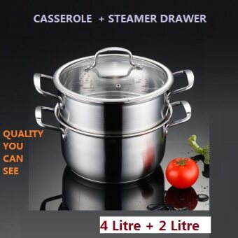 Harga CASSEROL WITH A STEAMER STAINLESS STEEL STEW POT SOUP/STOCK POT 22CM 4000ML+2000ML